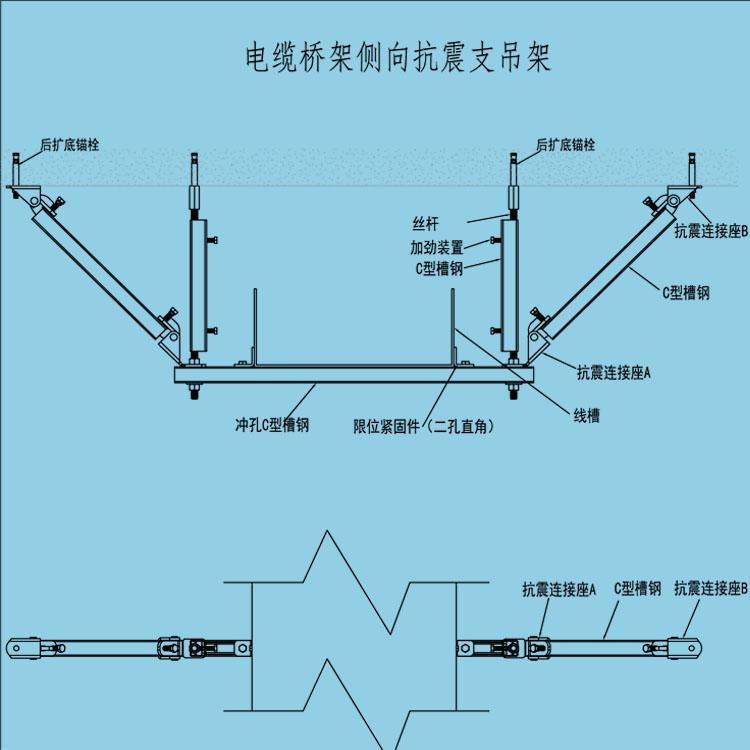 JHKZ-T12电缆桥架侧向抗震支吊架